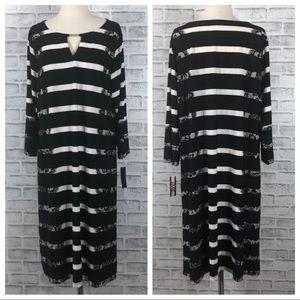 Haani Black & White Striped Long Sleeve Dress